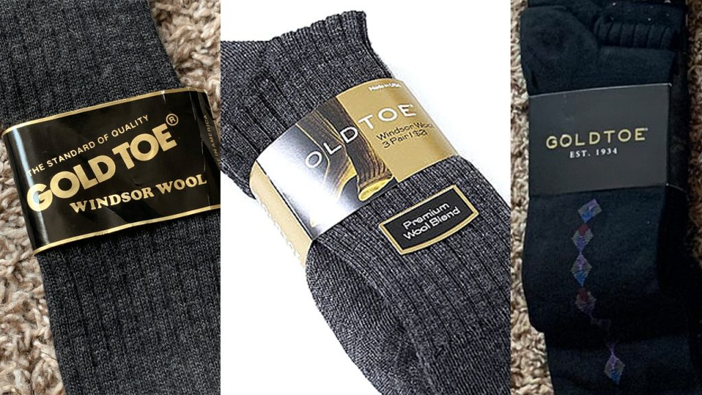 Gold Toe packaging, including Windsor Wool and their fashion multipack socks.