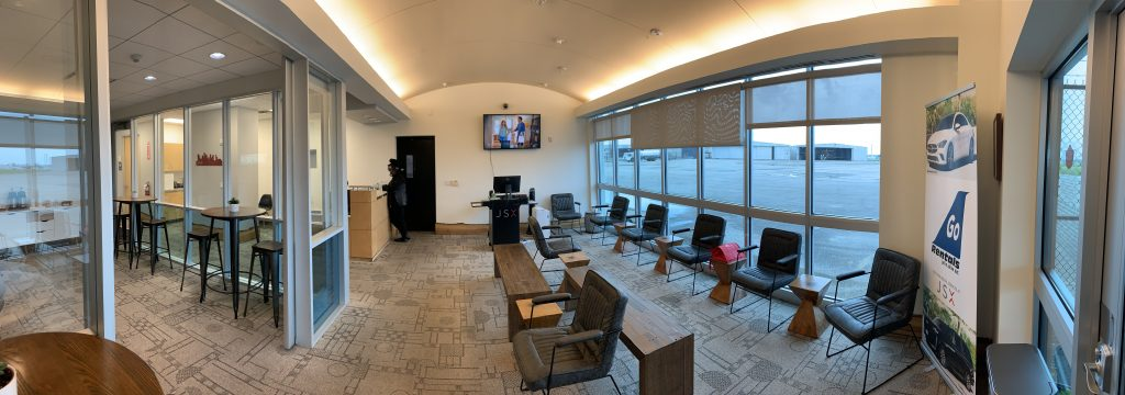 JSX Houston terminal lounge interior at 8401 Nelms Street at William P. Hobby Airport.